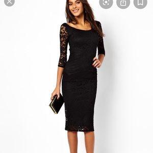 ASOS Black Lace Midi Long Sleeve Dress